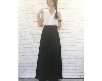 Vintage 70s Metallic Plaid Black Maxi Hostess Skirt S M Gold Copper A-Line Full Length