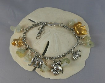 Elephant and Jade Stone Charm Bracelet