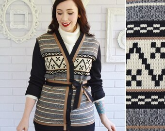 Vintage Black and Striped Pattern Cardigan Jacket with Fabric Belt Size Small