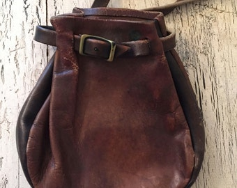 Vintage BoHo Leather Purse - Distressed Brown Leather Satchel - Rustic Leather Handbag