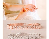 Rose gold Wedding Bracelet, Crystal Bridal Bracelet, Bridesmaid jewelry, Marquise Crystal Bracelet, Natalie Bracelet