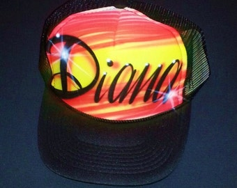 Airbrush Trucker Hat One Word Name/ Two Colors, Airbrush Trucker Hat, Custom Airbrush Hat, Airbrush Hat, Airbrush Cap, Trucker Hat, Airbrush