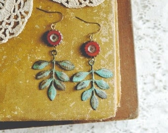 LAST ONE rustic garden earrings.