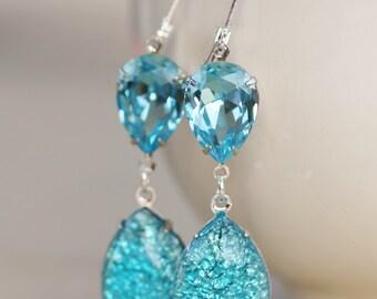Vintage Aqua Blue Opal Earrings,Aquamarine Glass Fire Opal,RARE,Swarovski Earrings,Faux Opal Earrings,Opal Jewelry,Hourglass,Rhinestone