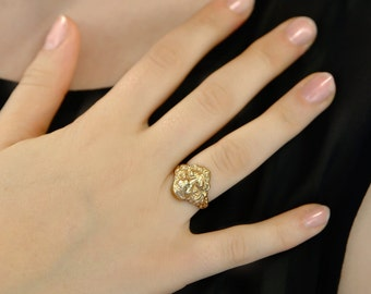 Lion ring, Lion head ring, Solid Gold ring, Rose Gold ring men, mens Gold ring, Mens Lion ring, Zodiac ring