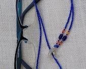 Eyeglass Holder - 29 Inch Beaded Sunglass Leash - Handmade Eyewear - Long Womens Eyeglass Chain - Cobalt Blue & Orange Fire Opal
