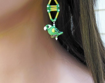 OOAK Parrot Earrings - Sterling Silver Earrings - Green Yellow White - Seed & Bugle Bead - Tropical Bird Jewelry - Bright Casual - Beadwork