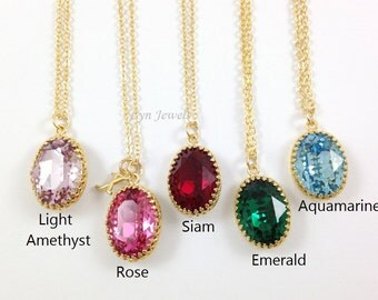 Personalised Bridesmaids Necklace, Swarovski Crystal Oval Gold Framed Pendant Emerald, Rose Pink, Light Blue, Red, Light Purple