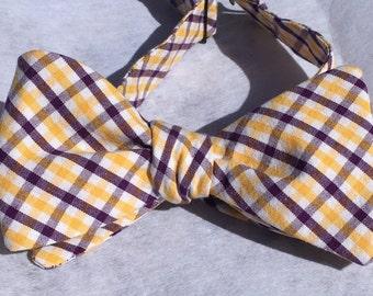 Handmade self tie Purple/Gold gingham bowtie for boys