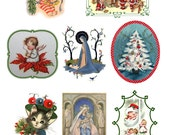 """Large Stickers (each sticker 2.5""""x3.5"""", pack 8 stickers) Scrapbooking Craft Vintage # Framed Christmas Scenes FLONZ 132"""