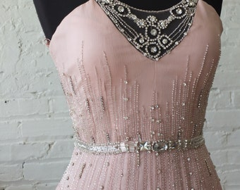 Rhinestone encrusted pale pink silk wedding dress evening gown moms dress