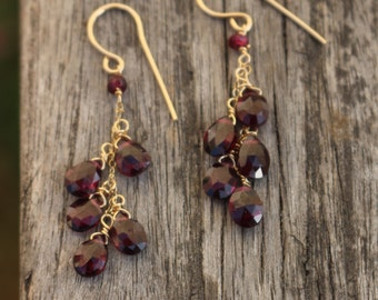 Cluster Garnet earrings in  14/20 gold filled ear wires gift for her January birthstone jewelry