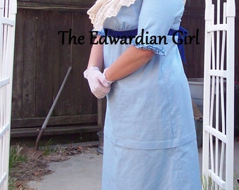 Custom made inspired Downton Abbey Edith Crawley white cotton party dress.  Downtown Abbey, Titanic, Edwardian, WWI, made in USA
