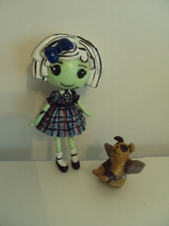 monster high mini lalaloopsy frankie stein custom  with pet dog watzit