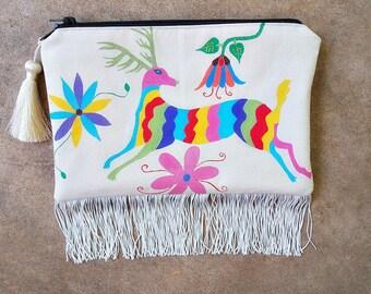 painted bag boho clutch bag fringe purse deer art otomi inspired painting textile art bag