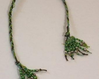 Braided Hemp Bookmark - Green Tassel