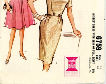 1963 McCall's Dress with Full or Wiggle Skirt Bow Waistline Sewing Pattern 3759, Size 16, Bust 36