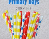 CLEARANCE SALE - 25 Red Yellow Blue Straws - Primary Days Mix - Chevron Dot Stripe - Multipack of 25 Primary Color Straws - Circus Straws