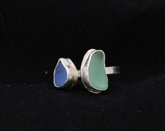 Adjustable Double Sterling Silver Authentic Sea Glass Ring 10-10.5, Sea Glass Ring, Beach Glass Ring, Sterling Silver Ring, Handmade Ring