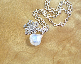 Snowflake Necklace - Sterling Silver Snowflake and Moonstone Pendant Necklace, Snowflake Charm, Winter Jewelry, Holiday Necklace, Moonstone