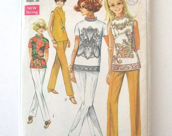 1960s Top and Pants Pattern, Simplicity 8000, Womens Casual Overblouse and Stove Pipe Pants Sewing Pattern, Misses Size 14 Bust 36