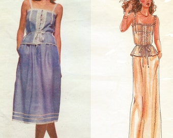 70s Ralph Lauren Womens Camisole and Below Knee or Evening Length Skirt Vogue Sewing Pattern 2518 Size 12 Bust 34 American Designer