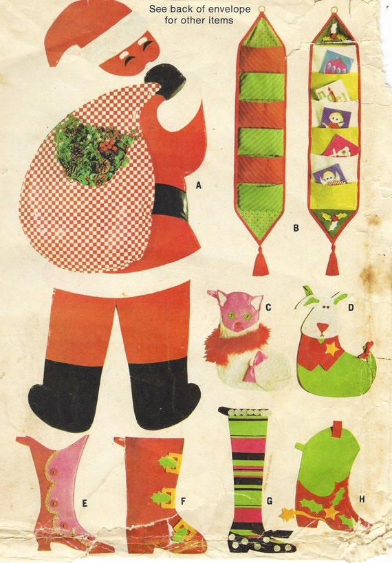 1960s Christmas Trims Door Santa, 5 Christmas Stockings, Tree Skirts Tablecloths Pattern McCalls Sewing Pattern 8988 UnCut