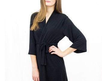 Black kimono robe, Luxury Robe, Bamboo Knit Robe, Bamboo Robe, Violet Robe, Nursing sleepwear, floral bridal robes, jersey robes, bath robe