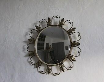 Mid Century French Metal Sunburst Mirror, Convex Mirror