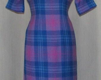 SALE Vintage 1950s TEENA PAIGE Vintage Clothing  Dress Purple Wool Plaid Wiggle Fit Vintage Clothing 1950s Fashions