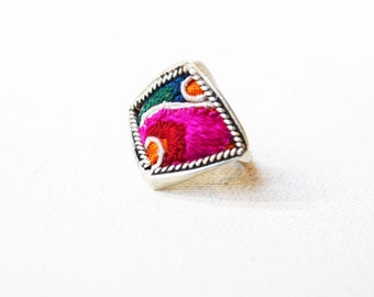 Vintage Thai Embroidered Ring Woven Silk and Silver Ring