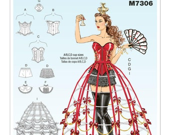 McCall's Pattern M7306 Misses' Crown, Ruffled Collars, 3 Styles of Corsets with A/B, C & D Cups, 2 Shorts and 2 Hoop Skirts Sizes 14-22 NEW