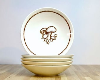 Vintage Mushroom Bowls Ceramic USA Pottery Brown and White Cereal Bowls