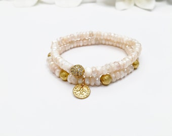 Silverite Moonstone Bracelets with Gold Vermeil Beads and CZ Bead