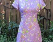 Vintage 60s Purple Floral and Mushroom Novelty Print Maxi Floor Length Mod Hippie Dress/ High Neck Mock Collar / XS- Small