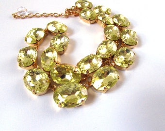 Citrine Anna Wintour Necklace, Georgian Paste Necklace, Statement Necklace, Light Yellow Crystal. Regency Paste Jane Austen Jewelry Rococo