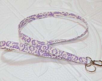Lanyard - Fabric Lanyard - Key Lanyard - Badge Holder - Purple