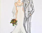 Custom Order for Erin - Wedding Couple fashion sketches personalized