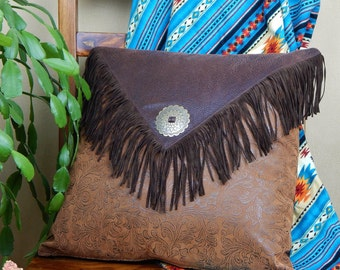 Western Leather Pillow, Western Saddlebag Pillow, Leather Pillow with Fringe