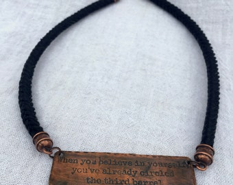 Barrel Racer Necklace - Horse Hair Necklace with Custom Engraved Copper Pendant