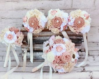 White blush bouquet, wedding bouquet, bridal bouquet, bridesmaids bouquets, fabric flowers bouquet