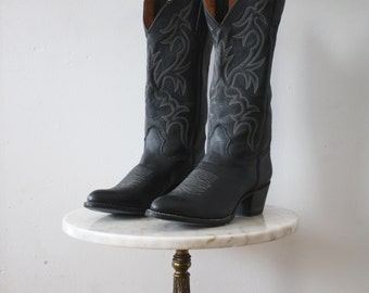 Cowboy Boots BLUE Black - 8.5 Women's - Western Cowgirl - 1970s Vintage