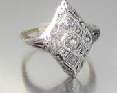 Antique Art Deco Diamond Engagement Ring 14K