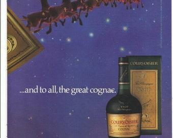 1984 Courvoisier Cognac 2 Page Christmas Advertisement Santa Sleigh Reindeer Night Before Holiday Season Bar Pub Wall Art Decor
