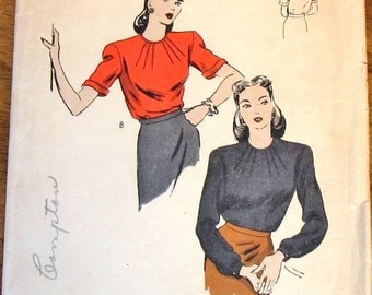 Vintage 1940s Unprinted Sewing Pattern Vogue 5024 Blouse, Dart Tucked Round Neckline, Long or Short Sleeves, Womens Misses Bust 30 Complete