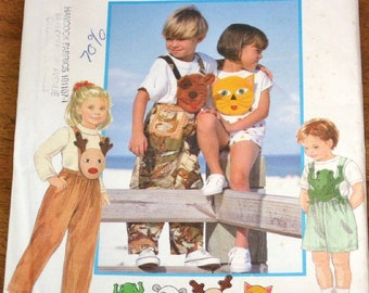 Vintage Sewing Pattern Simplicity 9566 Childs Bib Overalls, Animal Face Rompers, Boys Girls Size 2 3 4 Chest 21 22 23 Uncut Factory Folds