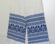 Vintage 60s Embroidered Cotton Pants Embroidered Mexican Pattern Cobalt Blue Flared Leg Bell Bottoms High Waters Womens Size X-Small