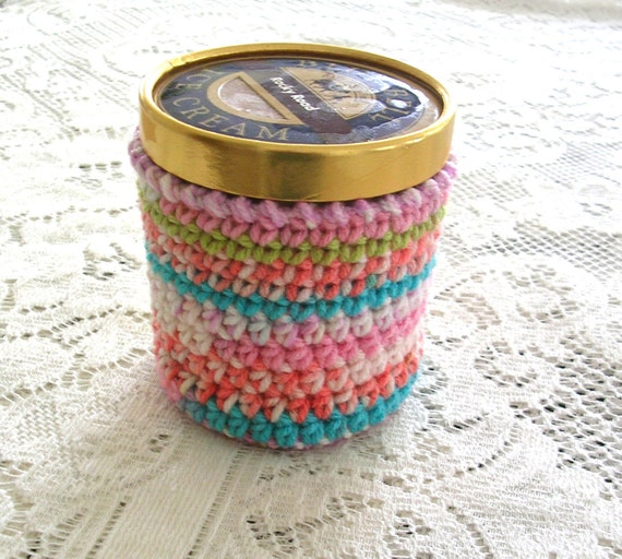 Ice Cream Cozy - Multi Color Bright Pint Ice Cream Sleeve - Handmade Crochet Ice Cream Holder -Pint Size Cozy Cover - Cottage Decor