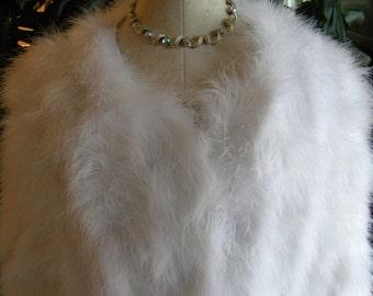 Wispy white marabou feather coat / jacket / shrug
