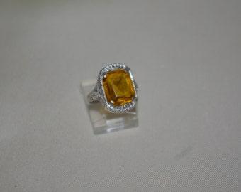 Antique Art Nouveau 10K Solid White Gold Citrine Filigree Ring Size 6.5